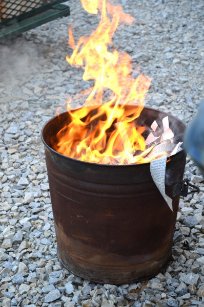 The bins are allowed to flame for 10-20 seconds, depending on the glaze.